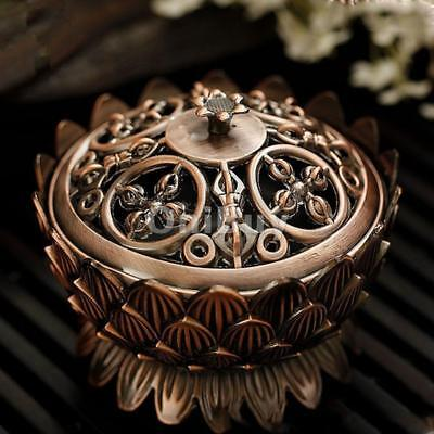 7cm Lotus Stick Cone Holder Smoke Aroma Incense Burner With Cover Copper