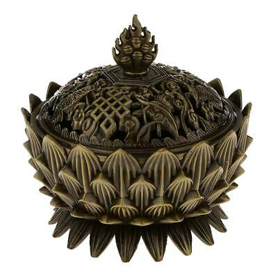 Lotus Stick Cone Holder Backflow Smoke Incense Burner Censer Coil Bronze M