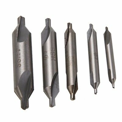 5 HSS Combined Center Drills Bits Set 60 Degree Countersink Tool High Speed