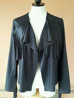Women's faux black leather fringe jacket from Casting, sz 2