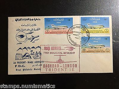 Iraq 1965, Jet Trident Stamps Set First Day Cover w 1st Flight Baghdad-London RR
