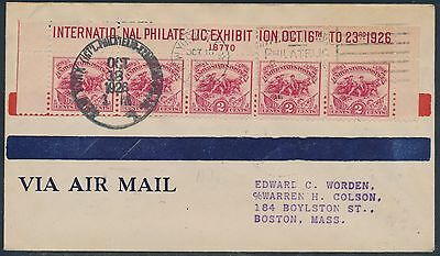 #630 On Worden First Day Cover Oct 18,1926 Top Strip Of 5 Bt7515