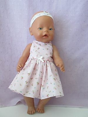 DRESS & HEADBAND suitable Baby Born - Cabbage Pink with Flowers
