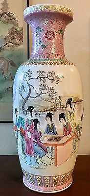 """Spectacular 24"""" Vintage Chinese Famille Rose Vase with Court Scene"""