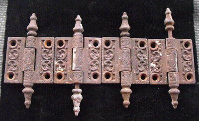 """Set of 4 2""""x2"""" Cast Iron Victorian Eastlake Steeple Top Cabinet Hinges Reclaimed"""
