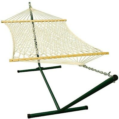 Rope Hammock with Steel Stand Bars Cotton Rope Sturdy Outdoor Bed Sleep 11 ft.