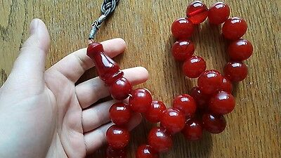 Cherry Amber Bakelite Sikma Kehribar Faturan Prayer  Old Red Misbah Tesbih