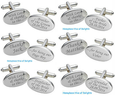 PERSONALISED Oval  SILVER Wedding Cufflink Sets For Men Party THANK YOU Gifts