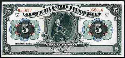 Banco Del Estado de Chihuahua, Five Pesos, A 055816, 1913, Almost Uncirculated.