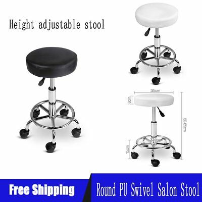 Round Salon Stool PU Swivel Barber Hair Dress Chair Seat Hydraulic Lift 2Colours