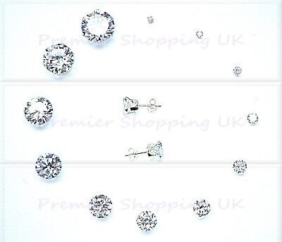 925 Sterling Silver Stud Earrings Crystal Cz Cubic Zirconia First Class Post