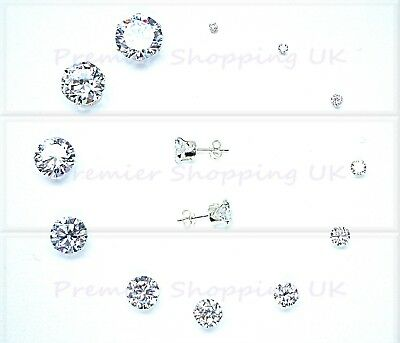 Sterling Silver Cubic Zirconia Cz Stud Earrings Round Clear All Sizes 925