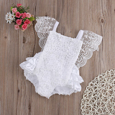 New Kids Baby Clothes Girl Lace Floral Romper Jumpsuit Sunsuit Outfits UK Stock