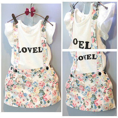 Kids Baby Girl Tops T-shirt+Flower Suspender Skirt Overalls Outfit Clothes UK