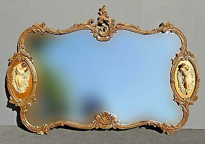 Ornate Vintage Italian Rococo Style Gold Wall MANTLE MIRROR with Wall Plaques