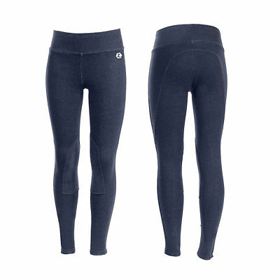 NEW Horze Kids Knee Patch Riding Tights Navy Blue Sizes 130 - 170