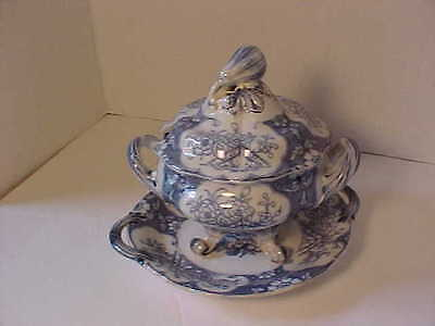1800's Blue Transferware SIVA Covered Sauce Tureen