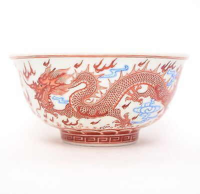 Beautiful Chinese Porcelain Overglazed Red Bowl with Dragons marked