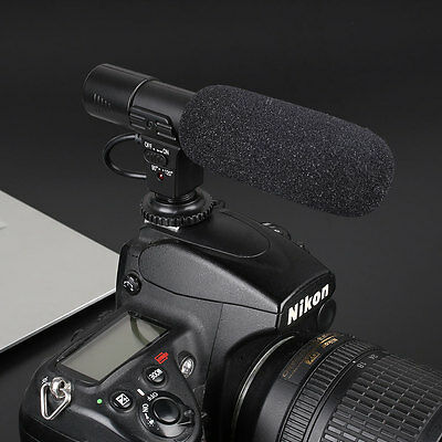 On-Camera Video Shotgun Stereo Recording Microphone For DSLR Camcorder Camera