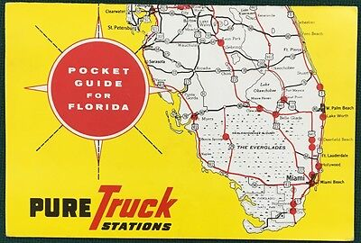 1954 PURE TRUCK STATIONS POCKET GUIDE FOR FLORIDA. Directory, hours, food, etc