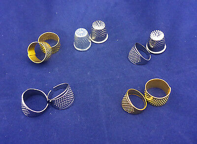 2 Metal Thimbles Traditional Adjustable Ring Tailors Sewing Quilting Silver Gold