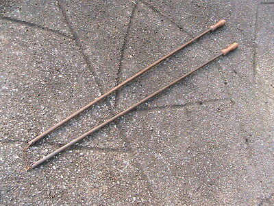 Pair Of Vintage Antique Wooden Curtain Draw Rods / Pulls