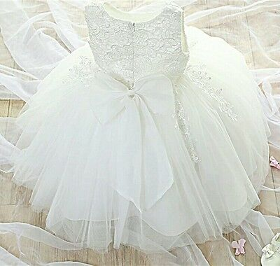 Girls Christening  Dress Gown Bridesmaid Flower Girl Pageant Wedding Party Lace