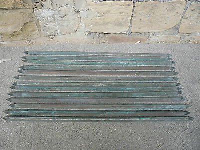 13 x vintage Antique Brass Stair Rods 81 cm, old Carpet stairs clips reclimation