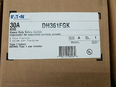 Eaton DH361FRK 30A 600V 3 pole fusible heavy duty safety switch