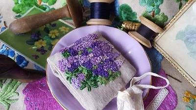 Hand Made Needle Case Needle Keeper Hand Embroidered Purple Lupins Vintage Linen