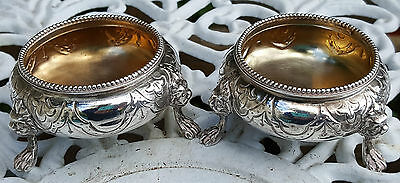 Quality Pair Of Antique Solid Sterling Silver Victorian Cauldron Salts 100G