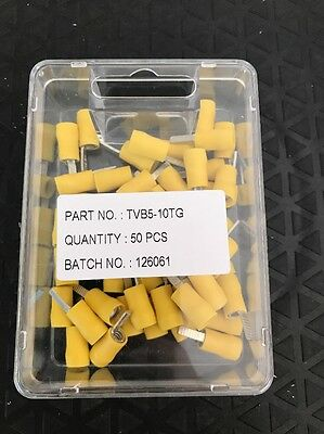 Insulated Blade Terminal Twin Grip 2.8mm X 10mm Yellow Pack Of 50
