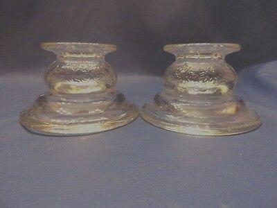 """MADRID GLASS Clear CANDLE HOLDERS  Federal Reproductions w/  5"""" Scented Candles"""