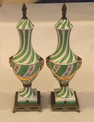 "Rare Pair 15.5"" Antique Victorian Rams Head Hand Painted Porcelain Brass Decor"