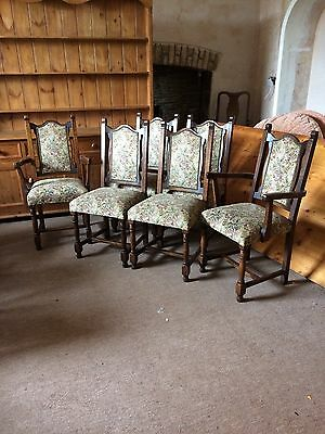 Vintage Gothic Style Oak High Back Tapestry Seat Dining Chairs X 6 Inc Carvers