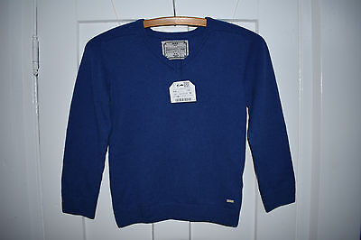 ZARA Boys Cotton/Wool Blend V-neck Sweater Elbow Patches 5-6/116