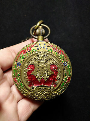 Antique old Brass Cloisonne style Chain Mechanical Pocket Watch