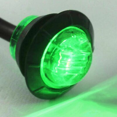 """Marker Side Clearance Light 3/4"""" Clear / Green Bright with Grommet LED Trailer"""