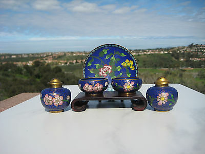 Vintage Beautiful Chinese Brass Blue Cloisonne Salt And Pepper Set Plate