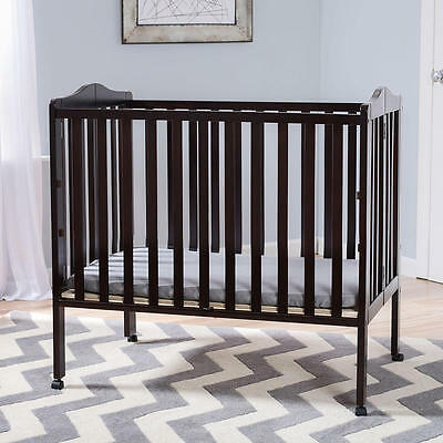 Delta Children Portable Folding Crib with Mattress - Dark Espresso