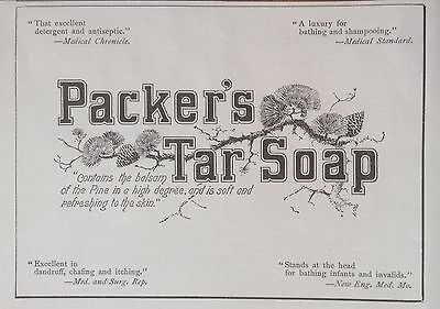 Antique 1895 Ad (1800-17)~Packer's Tar Soap W/ Balsam Of The Pine