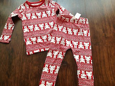Nwt Baby Gap Toddler Unisex Long Sleeve Pajamas 18-24Month Red/bear