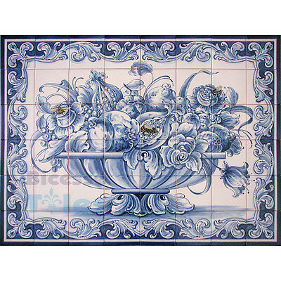 Portuguese Traditional Hand Painted Azulejos Tiles Panel BLUE FLOWERS BASKET