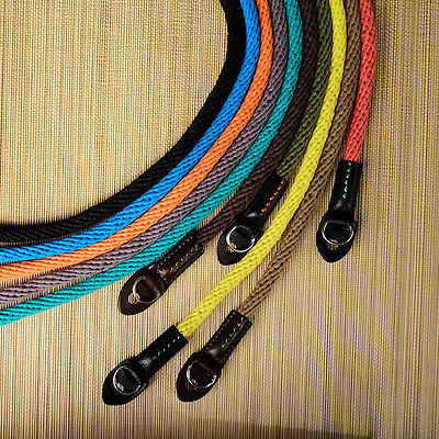 Yellow 95cm Woven Cotton Rope Cam-in Camera Strap with ring connection UK stock
