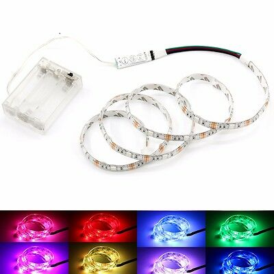 UK LED Strip Lights RGB 5V +Battery Box +Controller Battery Powered Multi-color