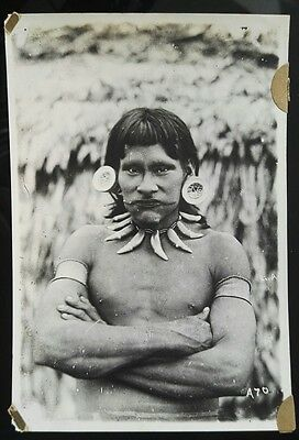 Vintage Original Amazon Tribe Photo Peruvian Indian Forrest Peru Hunter