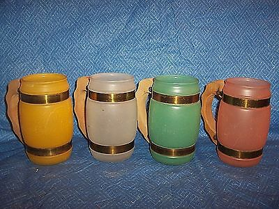 Vintage Siesta Ware Frosted Glass Root Beer Mugs ~ Set Of 4~ Vgc