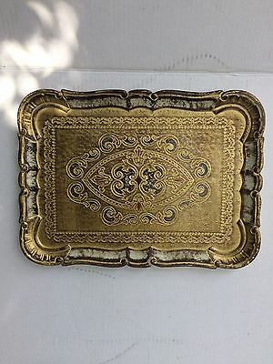 Vintage Decorative Florentine Florentia Wooden Serving Tray Hand Made In Italy B