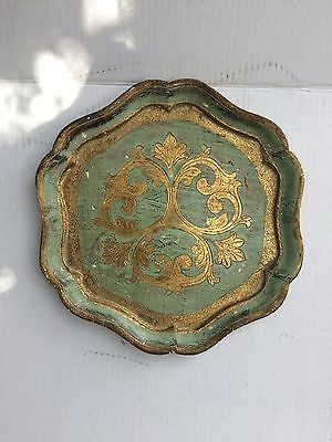 Vintage Decorative Florentine Florentia Wooden Serving Tray Hand Made In Italy C
