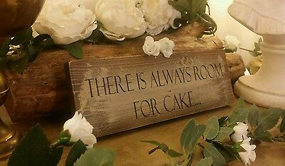 Room For Cake Sign Wedding Rustic Shabby Vintage Barn Photo Booth Props Plaque